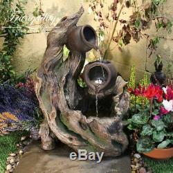 2 Jug & Woodland Garden Water Feature, Solar Powered Outdoor Fountain