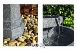 2 Level Birdbath Water Feature Fountain Solar Powered Stone Effect Garden