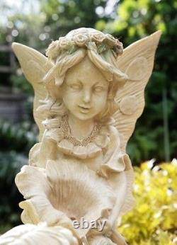 2 Stage Fairy Sculpture Water Feature Fountain Classical Stone Effect Garden