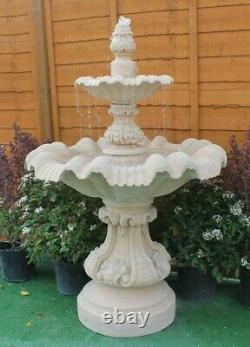 2 Teired Windsor Fountain Sandstone Garden Water Fountain Ornament Feature Solar