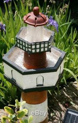 2 Tier Belle Tout Lighthouse Water Feature Fountain Cascade Solar Powered Garden