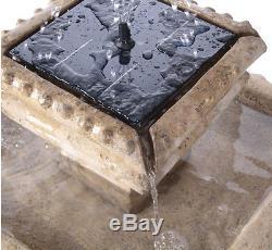 2 Tier Birdbath Water Feature Fountain Solar Power Classical Stone Effect Garden