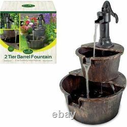 2 Tier Garden Barrel Pump Water Fountain Cascade Outdoor Patio Deck Feature
