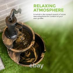 2 Tier Garden Barrel Water Fountain Pump Outdoor Patio Decor Curved Feature Deck