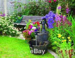 2 Tier Garden Water Barrel Pump Fountain Feature Outdoor Patio Cascade Ornament