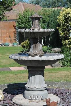 2 Tiered Barcelona Self Contain Water Feature Fountain Stone Garden Ornament