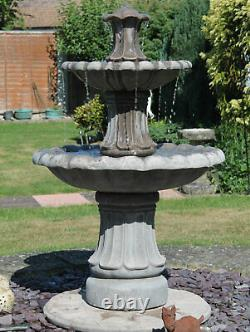 2 Tiered Barcelona Self Contained Garden Stone Water Feature Fountain Solar Pump