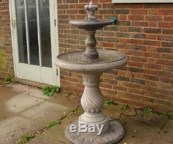 2 Tiered Candy Twist Fountain Stone Garden Water Fountain Feature