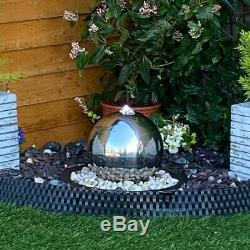 20cms Stainless Sphere Garden Water Feature, Solar Powered Outdoor Fountain