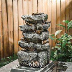220v or Solar Powered Garden Patio Water Feature Cascading Water Fountain w Pump