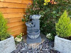 3 Bowl Pour Contemporary Solar Powered Garden Water Feature, Outdoor Fountain