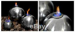 3 Silver Sphere Flame Water Feature Fountain Cascade Contemporary Steel Garden