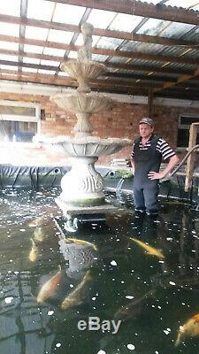3 Tier Antique Stone Water Fountain Large Koi Fish Pond Garden Feature 7ft 4