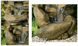3 Tier Rock Cascade Water Feature Fountain Waterfall Natural Stone Effect Garden