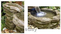 3 Tier Rock Pool Cascade Water Feature Fountain Stone Effect Indoor Garden