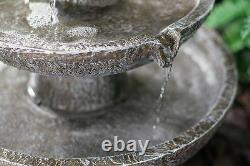 3 Tier Solar Powered Stone Effect Cascading Water Feature High Quality Outdoor