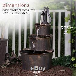 3-Tier Wooden Effect Barrel With Pump Cascading Water Fountain Garden Feature