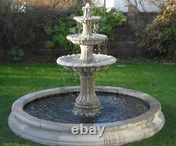 3 Tiered Barcelona, Large Cambridge Surround Water Fountain Garden Featur