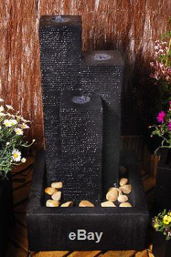 3 Tube Column Water Feature Fountain Cascade Dark Grey Slate Effect Garden
