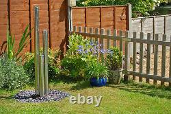 3 Tube Column Water Feature Fountain Contemporary Polish Stainless Steel Garden