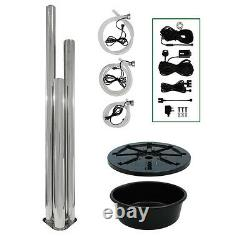 3 Tube Water Feature Fountain Cascade Contemporary Silver Brushed Steel Garden