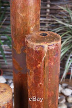 3 Tube Water Feature Fountain Cascade Contemporary Urban Corten Steel Garden