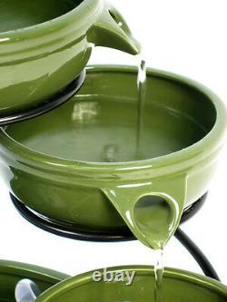 4 Step Jug Bowl Water Feature Fountain Cascade Ceramic Solar Power Modern Garden
