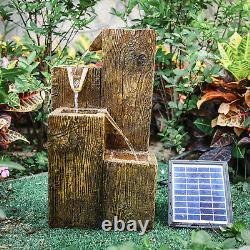 4 Tier Garden Fountain Log Effect Solar Power Water Feature Cascade with LED Light