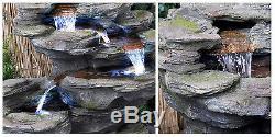 4 Tier Grey Rock Effect Cascade Water Feature Fountain Waterfall Indoor Garden