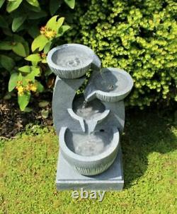 4 Tier Grey Stone Look Outdoor Garden LED Light Fountain Water Feature Ornament