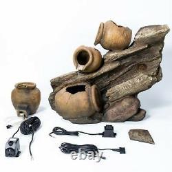 4 Tier Jar Jug Water Feature Fountain Cascade Ancient Earthenware Pottery Effect