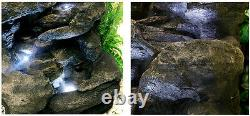 4 Tier Rock Cascade Water Feature Fountain Waterfall Natural Stone Effect Garden