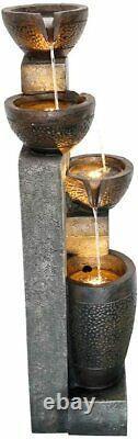 40 4-Tier Pots Outdoor Garden Water Fountain for Yard, Floor Patio, Backyard