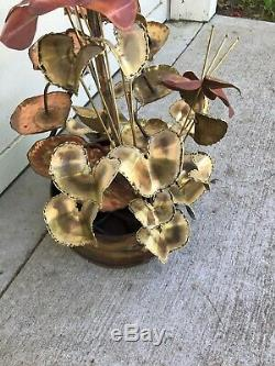 48 Indoor Water Fountain Lilly Pads Coy Copper for Yard Garden Artist Signed