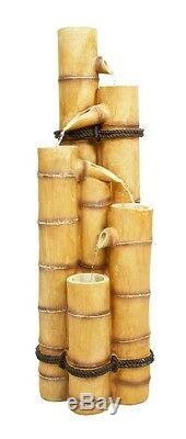 5 Level Tube Column Water Feature Fountain Cascade Wood Bamboo Effect Garden