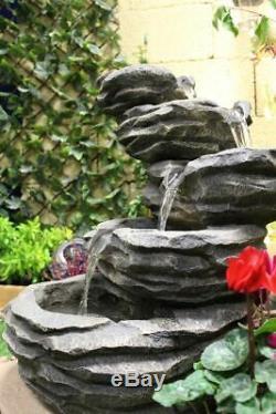 5 Tier Mini Rock Fall Garden Water Feature, Solar Powered Outdoor Fountain