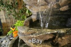 5 Tier Stone Effect Rock Fall Garden Water Feature, Outdoor Fountain
