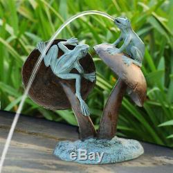 Aluminum 2 Pond Frogs On Giant Mushrooms Water Spitter Fountain Garden Statue