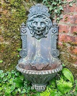 Antique Cast Iron Lion Head Wall Font Water Fountain