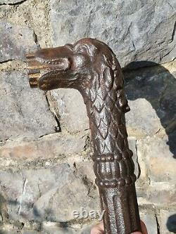 Antique-Italian Late 17th Century Wrought Iron Wolf Head Water Fountain Spout