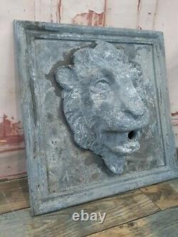 Antique Vintage Lead Lion Head Garden Water Feature Fountain Sculpture