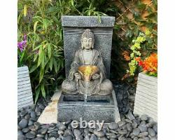 Anurak Oriental Water Feature, Solar Powered Fountain With Lights, Garden