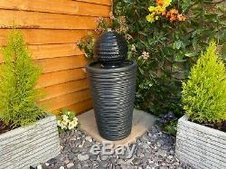 Aurora Contemporary Garden Water Feature, Solar Powered Outdoor Fountain