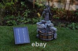 Battery Backup Garden Outdoor Solar Hand Pump Style Water Fountain Feature