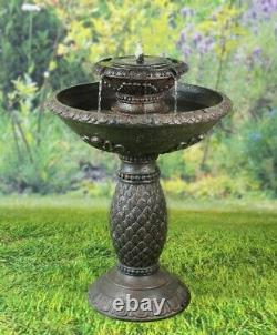 Battery Backup Garden Outdoor Solar Powered Birdbath Water Fountain Feature