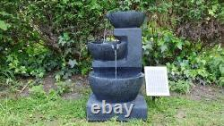 Battery Backup Garden Outdoor Solar Powered Charcoal Bowl Water Fountain Feature