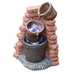 Battery Backup Garden Outdoor Solar Powered Corner Brick Water Fountain Feature