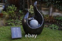 Battery Backup Garden Outdoor Solar Powered Marble Effect Water Fountain Feature