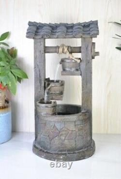 Battery Backup Garden Outdoor Solar Powered Wishing Well Water Fountain Feature