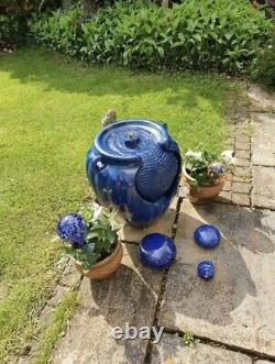 Battery Backup Garden Solar Power Blue Ceramic Effect Water Fountain Feature